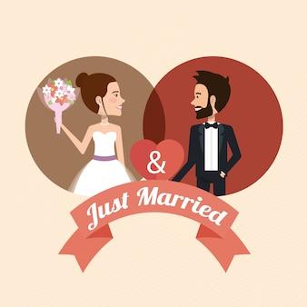 Apenas casal com corações personagens de avatares