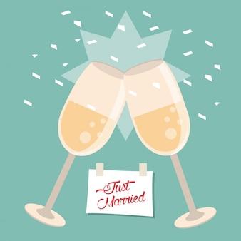 Apenas celebração casada de copos de vidro