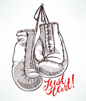 Apenas comece. esboço luvas de boxe. ilustração desenhada à mão
