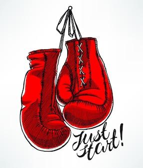 Apenas comece. luvas de boxe vermelhas. ilustração desenhada à mão