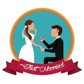 Apenas homem casado que propõe uma etiqueta de mulher