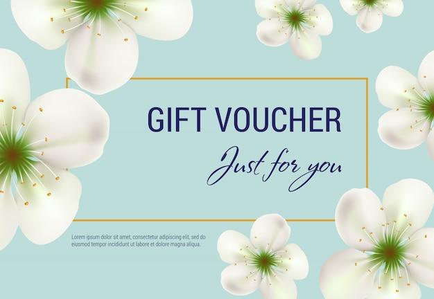 Apenas para você voucher de oferta com flores brancas e moldura em fundo azul claro.