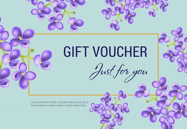 Apenas para você voucher de oferta com flores lilás e moldura em fundo azul claro.