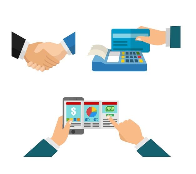 Apertar a mão e pagar a conta no negócio
