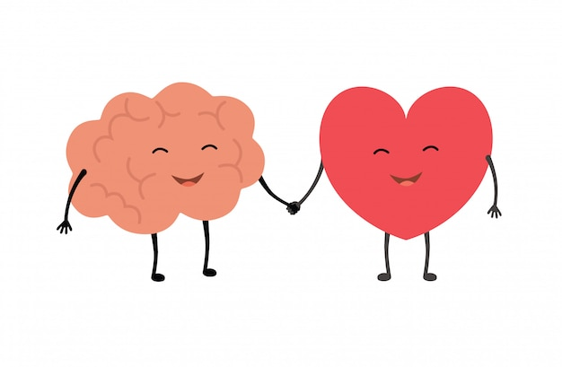 Aperto de mão de cérebro e coração.