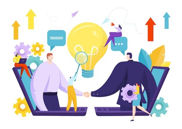 Aperto de mão de empresários para ilustração de acordo de parceria