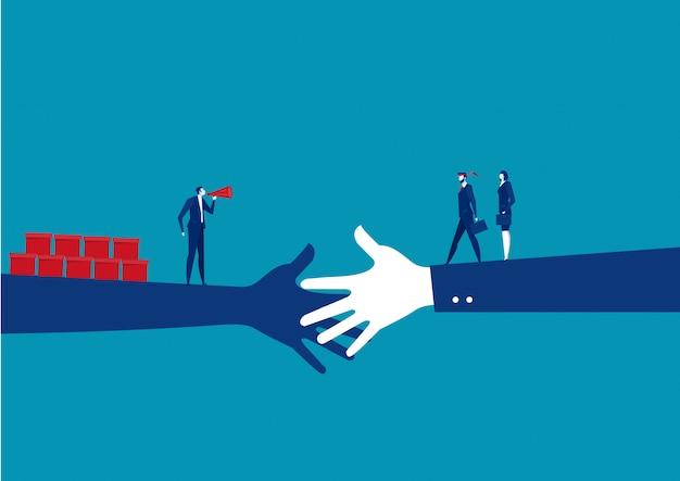 Aperto de mão do negócio entre o investidor com vendas