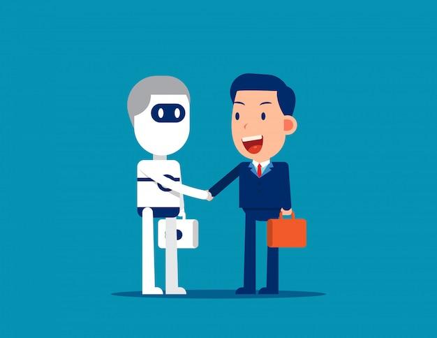 Aperto de mão humano e robô