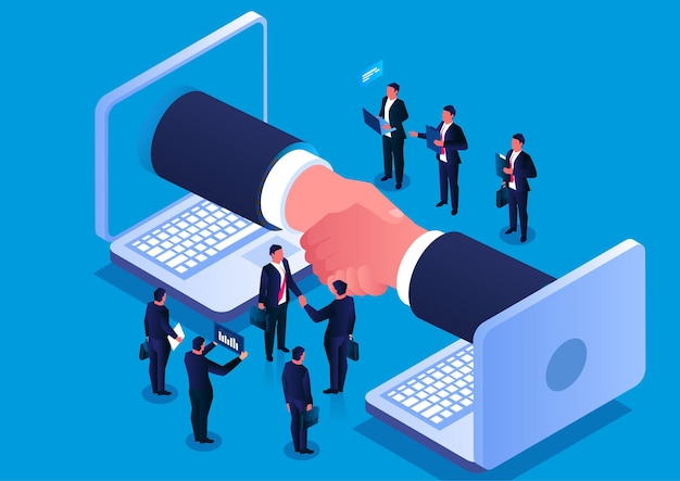 Aperto de mão isométrico e cooperação com duas mãos apertando as mãos dentro da tela do computador