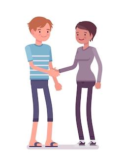 Aperto de mão jovem e mulher