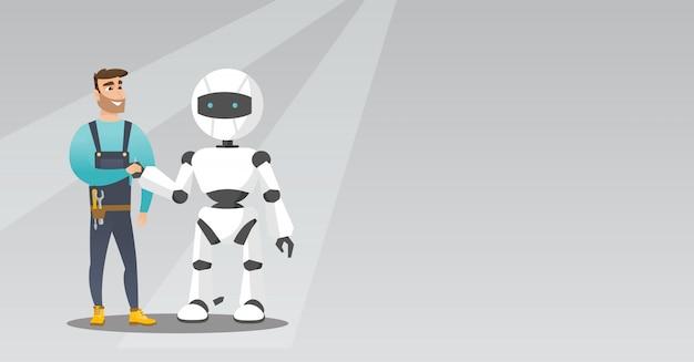 Aperto de mão jovem homem caucasiano com robô