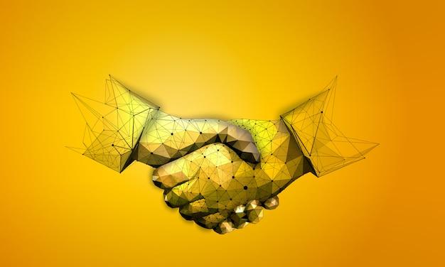 Aperto de mão no estilo de estrutura de arame poligonal