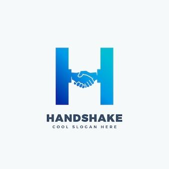 Aperto de mão sinal abstrato, símbolo ou logotipo modelo. shake de mão incorporado no conceito de letra h.