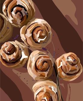 Apetitosos cinnabons e flores de lavanda. ilustração de moda vetorial