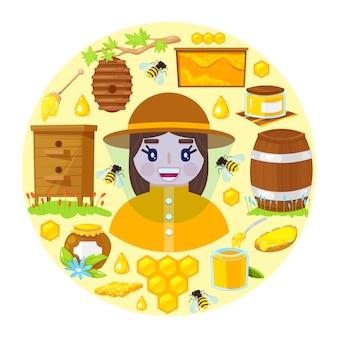 Apicultor e objetos de apicultura