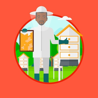 Apicultor na ilustração vetorial de apiário.