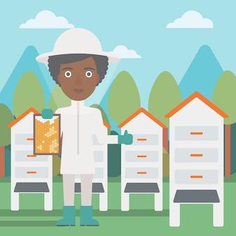 Apicultor no apiário