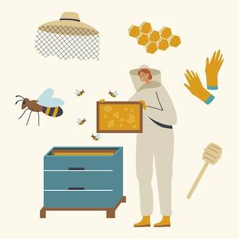 Apicultor personagem feminina em traje de proteção com chapéu cuidando de abelhas