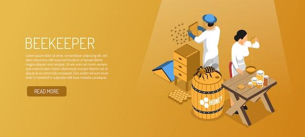 Apicultores durante banner horizontal isométrica de produção de mel em marrom claro