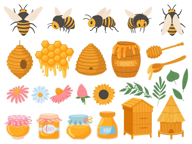 Apicultura. produtos da apicultura, vários tipos de mel em potes de vidro. conjunto de vetores de alimentos orgânicos do favo de mel, cera de abelha, colmeia, flores e abelhas. ilustração mel e apicultura, abelha e doce orgânico