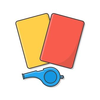 Apito do árbitro com cartões amarelos e vermelhos