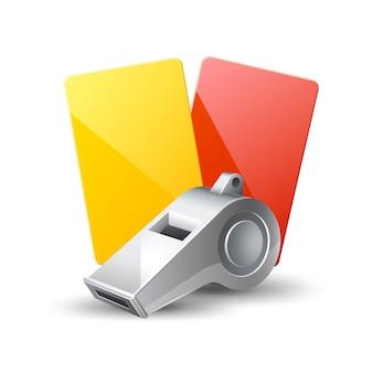 Apito realista de árbitro de futebol e cartões amarelos e vermelhos