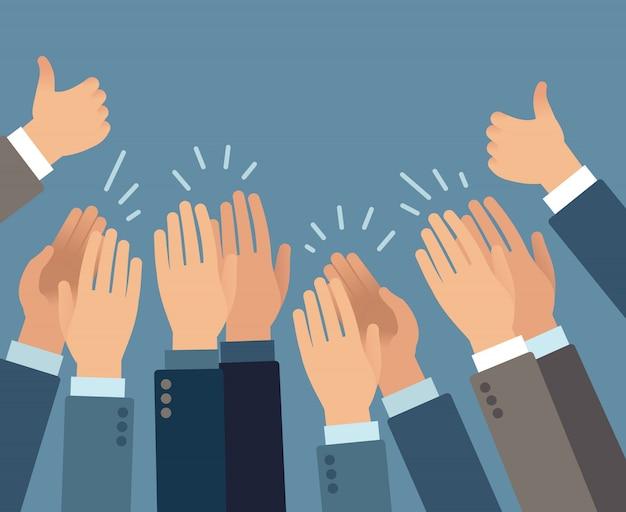 Aplausos. mãos aplaudindo gestos de aplauso, parabéns público apreciação sucesso saudação aprovar conceito