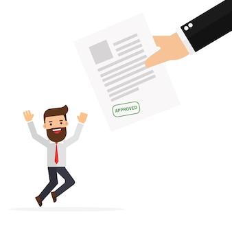 Aplicação aprovada e feliz empresário