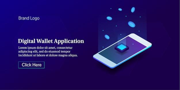 Aplicação de carteira digital Vetor Premium
