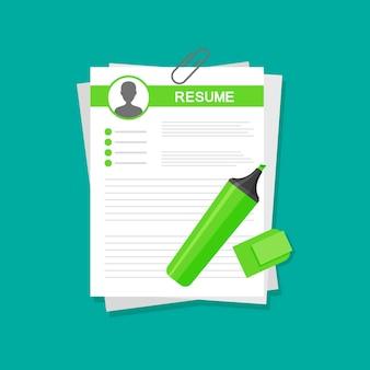 Aplicação de cv. formulário de currículo de negócios. pesquise e selecione profissionais.