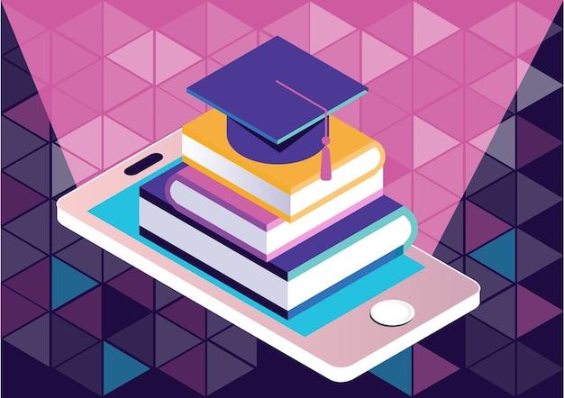 Aplicação de e-learning ou biblioteca, conceito de cursos on-line