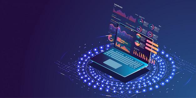 Aplicação de laptop com gráfico de negócios
