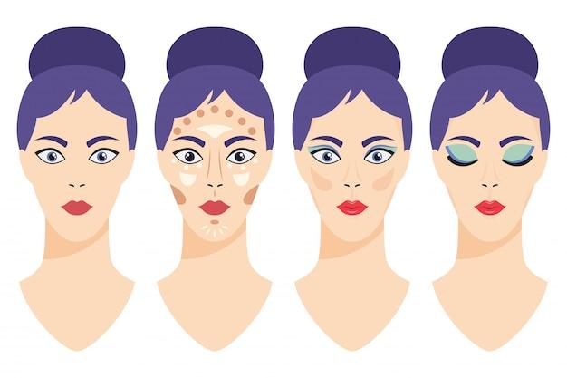 Aplicação de maquiagem de glamour passo a passo. rosto de menina desenho vetorial antes e depois da ilustração