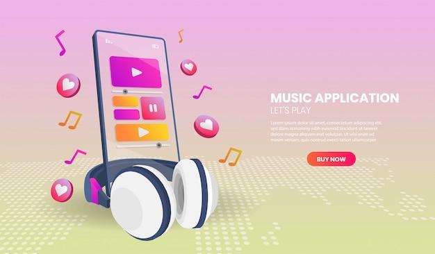 Aplicação de música e telefone em vista em perspectiva. ilustração em vetor 3d.