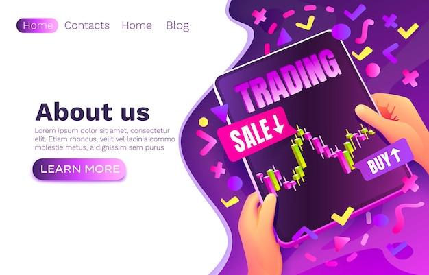 Aplicação de negociação de venda e compra, gráfico de análise de aplicativo, design de site on-line