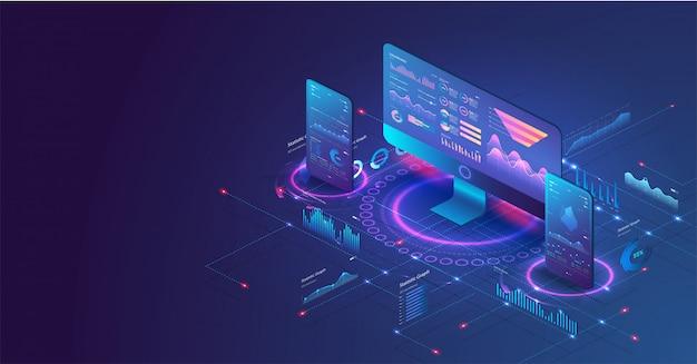 Aplicação de pc e telefone com gráficos de negócios e dados de análise.