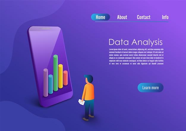 Aplicação de smartphone com gráfico e análise no celular isométrico.