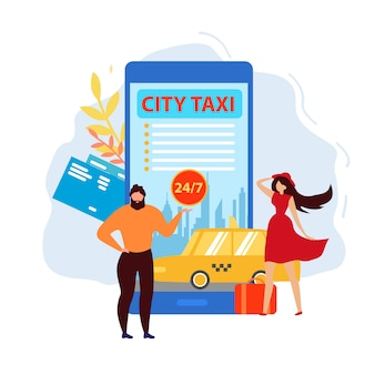 Aplicação de táxi da cidade, pedido de carro usando o telefone