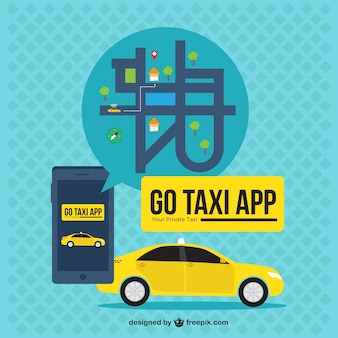 Aplicação fundo táxi com mapa no design plano