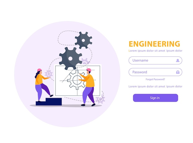 Aplicação móvel de engenharia com ilustração plana de nome de usuário e senha