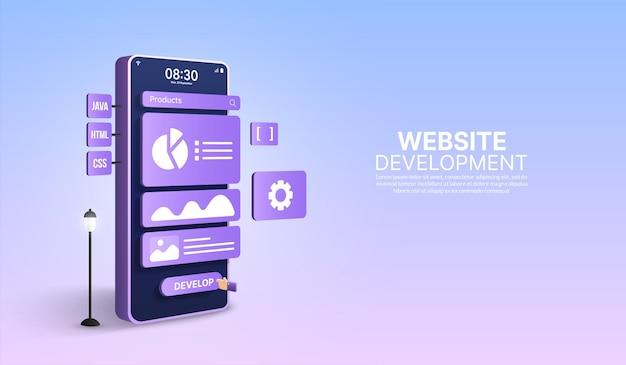 Aplicação móvel e desenvolvimento web, codificação e programação de design de layout responsivo