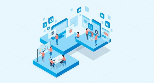 Aplicação móvel isométrica e conceito de processo de desenvolvimento de web design e equipe de negócios do grupo trabalhando