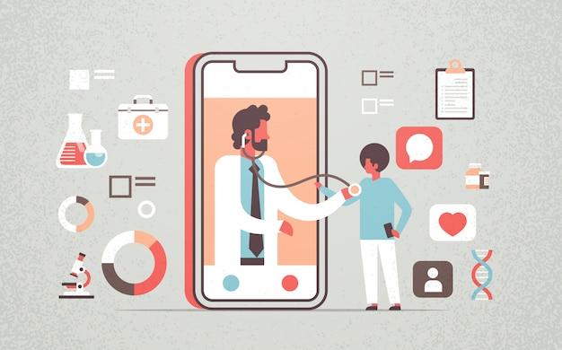 Aplicação móvel online de médico masculino