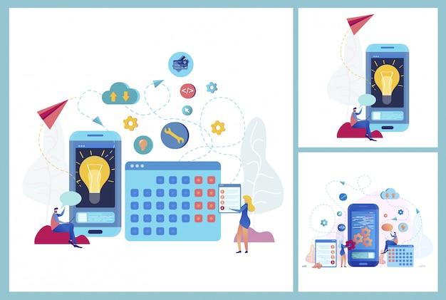 Aplicação móvel para o conceito de vetor de negócios