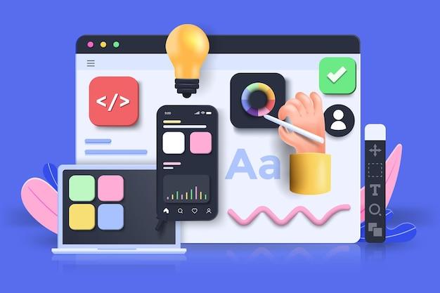 Aplicação móvel, software e desenvolvimento web com formas 3d, gráfico de barras, infográfico em fundo rosa. ilustração em vetor 3d