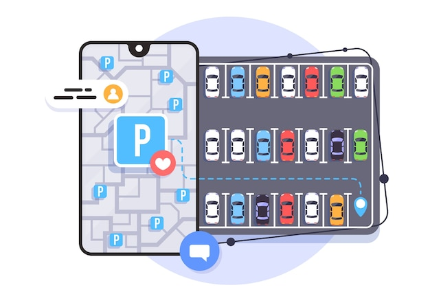 Aplicação online para encontrar lugares de estacionamento, estacionamento da cidade, ilustração.