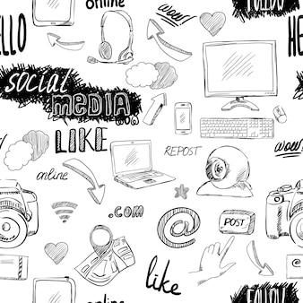 Aplicações de mídia social de doodle sem costura padrão de fundo