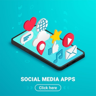 Aplicações de mídia social isométrica banner design com texto e botão. ícones planas na tela do smartphone vertical. conceito 3d com bate-papo, vídeo, correio, telefone, nuvem, como, sinal de música. ilustração