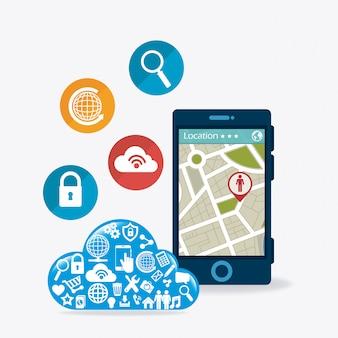 Aplicações móveis e design de ícones de tecnologia.