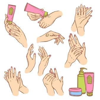 Aplicando creme mãos composição plana ícones